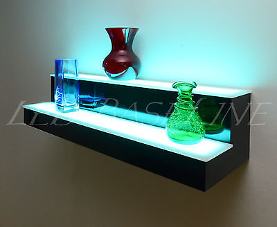 "18"" 2 Step WALL-MOUNT LED LIGHTED BAR SHELF, Home/Bar Liquor Bottle Display Rack"
