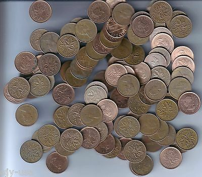 Canada One Cent (Penny) Mixed Dates Lot of 100 Coins (2 Rolls)