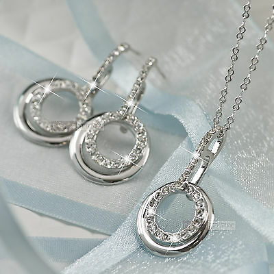 18k white gold gf made with SWAROVSKI crystal stud hook earrings necklace set