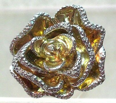 STERLING SILVER 925 LARGE ROSE&CZ RING 12.3 GR Rare  So Pretty Estate Jewelry