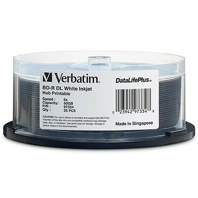 ($0 p&h) Verbatim BluRay BD-R DL 6X 50GB INKJET 25Pk  Pn 97334