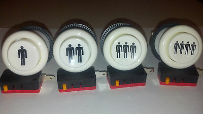 Set of (4)   Player 1 - 4  Happ long arcade button ships from USA