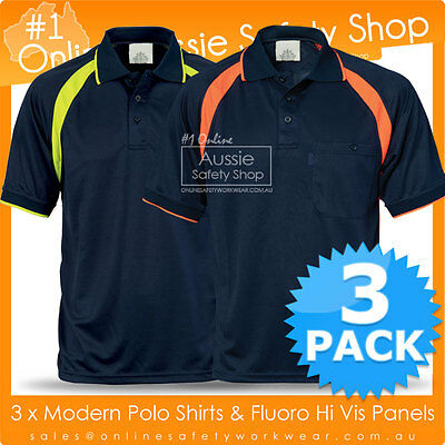 3 X Mens Womens Modern Cool Breathe Hi Vis Fluoro Panel Polo Office Work Shirts