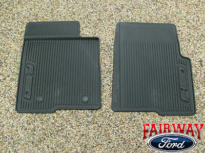 10 thru 14 Ford F-150 OEM Black Rubber All Weather Floor Mat Set 2-pc NEW