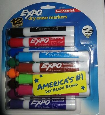 12 EXPO Low Odor Chisel Tip Dry Erase Markers Colored (80699) Felt Tips Pens NEW