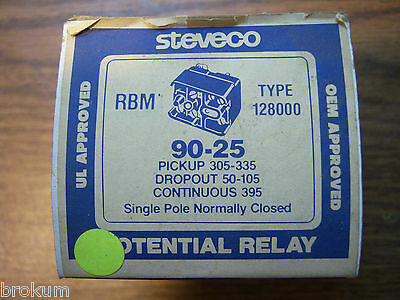 New White-Rodgers Potential Relay 90-25 Rbm Type 128000 Single Pole Normally Clo