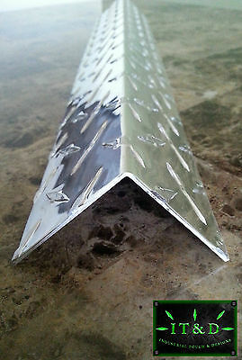 "(Set of 6) 1""x 1""x 48"" Wall Edge Corner Guard Angle .063 Aluminum Diamond Plate"