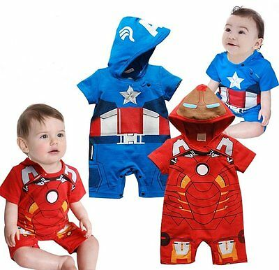 Baby Boy Captain America/IronMan Carnival Fancy Costume Outfit Clothes 00 0 1