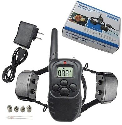 Rechargeable LCD 300 m Remote Pet Dog Training Shock E-Collar for two Dogs new