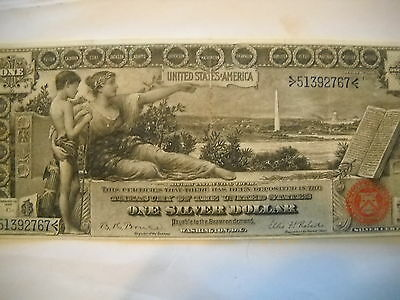 "Coinhunters- 1896 Large $1  ""Educational "" Silver Certificate  Extremely Fine +"