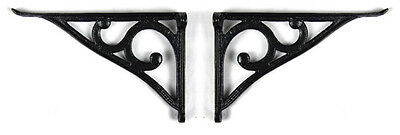 Pair Traditional Victorian Style Cast Iron Scroll Lipped Glass Shelf Brackets