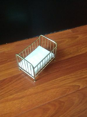 doll house miniature Baby Crib Bed With A  Removable Mattress