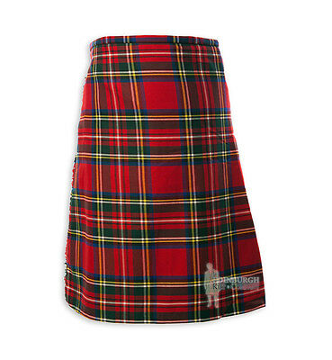 Mens Scottish Tartan Deluxe 8-Yard Kilt - Stewart Royal - Range Of Sizes!