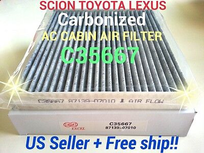 CARBONIZED For SCION TOYOTA AC CABIN AIR FILTER Camry Corolla Tundra TC Rav4