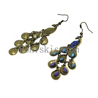 European Bronze Colour Restoring Ancient Ways Peacock Earrings Color Crystal New