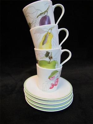 4 Sets, Watercolors by Block Spal of Portugal Cup and Saucer Sets, Fruit #2
