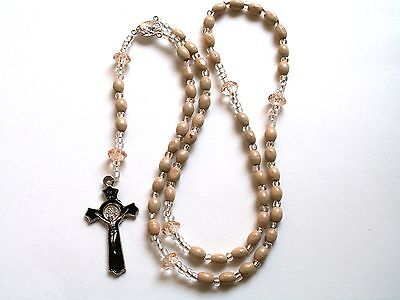 Rosary - Olive Wood  Beads Prayer Beads - Rosary Crucifix Necklace R66-16E193