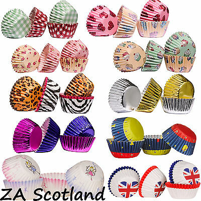 100 Cupcake Cases Mini, Great Quality Paper Baking Cases, Various Designs, UK