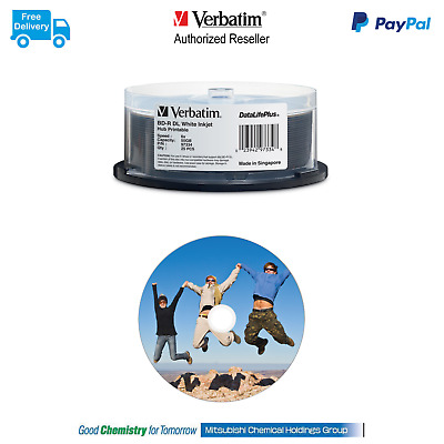 ($0 P&H) Verbatim Blu Ray BD-R DL 6X 50GB INKJET 25Pk  Pn 97334
