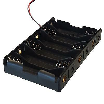 Plastic AAx6 / AA x 6 Battery Holder Black With ~14cm Leads