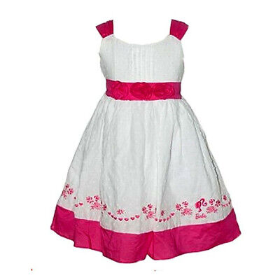 Barbie Party Dress White Pink Rosette Embroidered Licensed Kids Boys Girls New