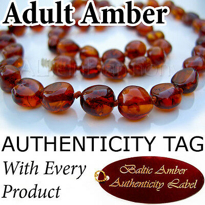 Dark Cognac Certified Baltic Amber ADULT NECKLACE Natural Health Breastfeeding