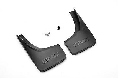 2014-2018 GMC Sierra GM Rear Black Molded Splash Guards with GMC Logo 22894866