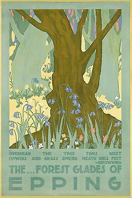 The Forest Glades of Epping vintage travel poster reprint