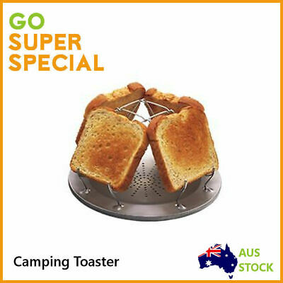 Camping Toaster 4 Slice Folding, Camp Grill Outdoor Steel Bread Food Cooking