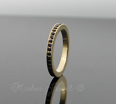 Black Eternity Stacker Girls Ladies Wedding Band Friendship Gold Gp Thin Ring