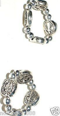 2 St. Saint Benedict Ring Religious Protection medal stretch ring set lot of 2
