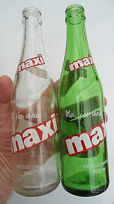 Lot of 2 300ml  MAXI soda pop bottles from Montreal Quebec