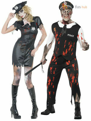 Zombie Policeman Costume Mens Ladies  Police Woman Couples Halloween Fancy Dress