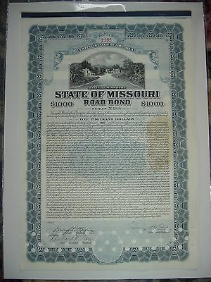 State of Missouri Road Bond Stock Certificate $1,000 1936
