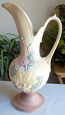 Hull Magnolia Matte Ewer Model #18 13 ½ Yellow Dusty Pink With A Lamp Hole