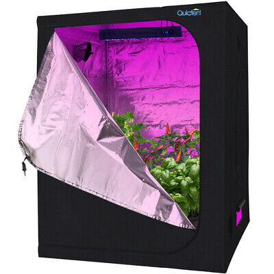 "Quictent 60""x60""x78"" Reflective Mylar Hydroponic Grow Tent with Waterproof Tray"