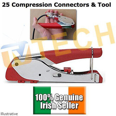 25 Compression F Connectors, with Tool, Free To Air, SKY, FTA, CT100