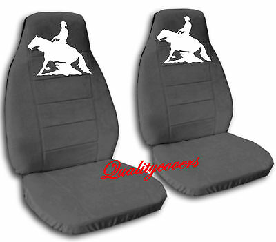 2 COOL CAR SEAT COVERS CHARCOAL WITH WHITE REINING HORSE HIGH QUALITY