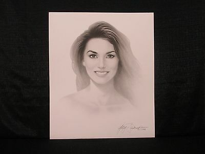 Shania Twain Country Singer Gary Saderup Black & White Lithograph