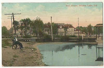 Bath House WINONA LAKE IN - Vintage IndianaPostcard