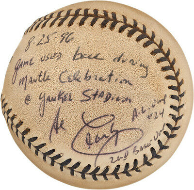 1996 Mickey Mantle Day Game Used Baseball Signed & Inscribed by Umpire Al Clark