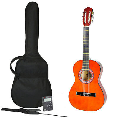 New Sanchez 1/4 Size Classical Guitar Pack for Kids Beginner Nylon (Amber)