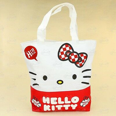Hello Kitty Large Canvas Tote Shopping Carry Shoulder Bag #219BA