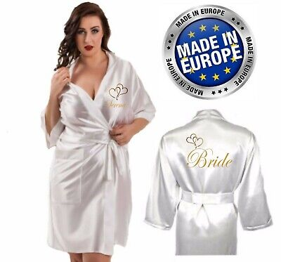 Personalised Wedding Robe / Dressing Gown Satin Heart Bride Mother Child's Sizes