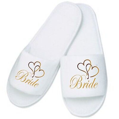 Personalised Heart Slippers / Mules Ideal for Weddings Honeymoon Home Bride Mum