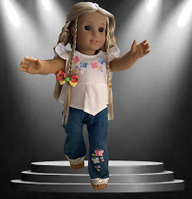 """AMERICAN GIRL DOLL CLOTHES EMBROIDERED JEANS & TOP for 18"""" AMERICAN GIRL DOLL"""