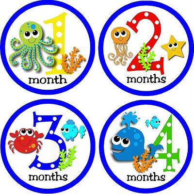 Ocean Creatures Monthly Baby Growth Bodysuit Stickers for Photos
