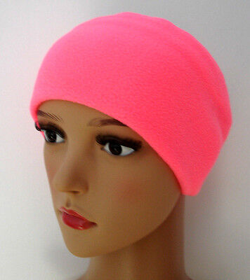 Headband WIDE NEON PINK fleece ear head warmer ski Hi Vis training running gym