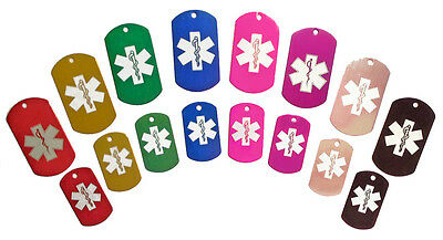 Medical Military Dog Tag - Custom Engraved Pet/Cat/Dog ID Tag - Large or Small!
