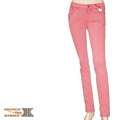 b8332401a31b7 I.CODE by IKKS jeans slim JEAN CORAIL LAVE rose femme taille emboitante